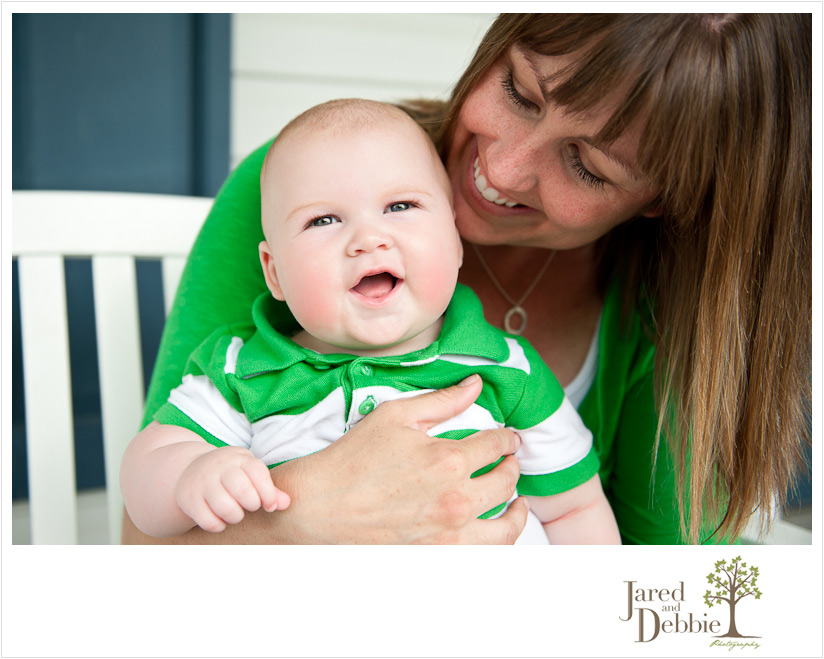 Mom and Baby Boy smiling family portrait by Jared and Debbie Photography in Plattsburgh NY