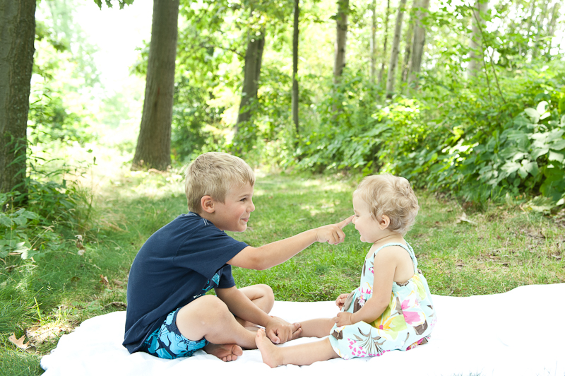 Brother and Sister at Family Portrait Session with Jared and Debbie Photography in Plattsburgh NY