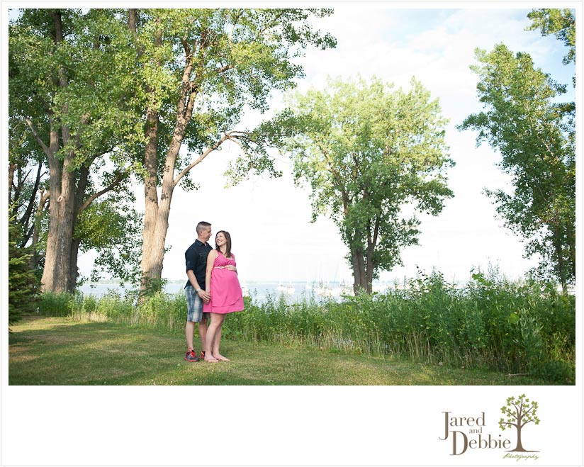 Expecting couple during maternity session in Plattsburgh NY photographed by Jared and Debbie Photography