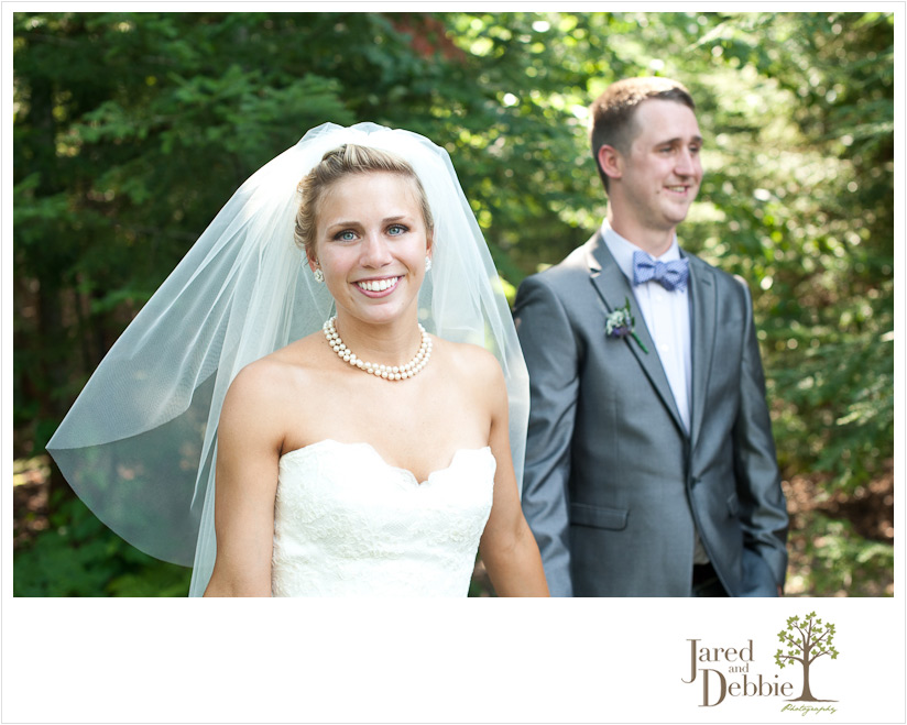 Bride and Groom at home on Mirror Lake in Lake Placid NY by Jared and Debbie Photography