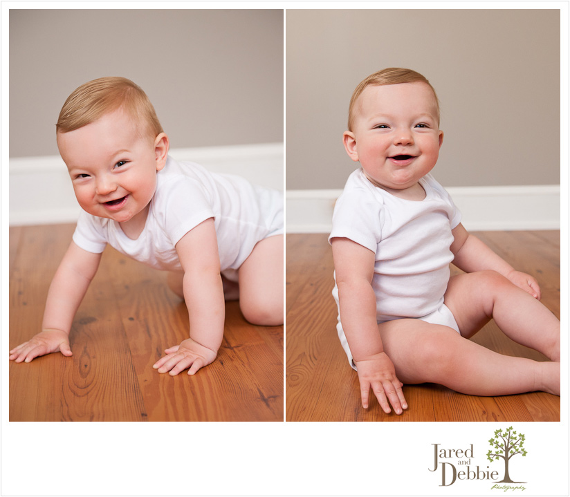 10 month old baby boy during session with Jared and Debbie Photography