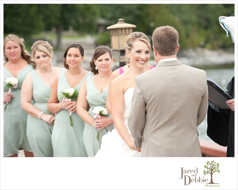 Wedding ceremony at Cafe Mooney Bay in Point au Roche by Jared and Debbie Photography