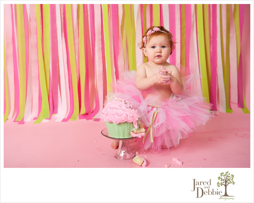 Pink and green cake smash for baby