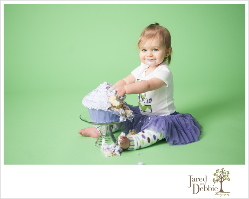 Purple and green cake smash session with Jared and Debbie Photography