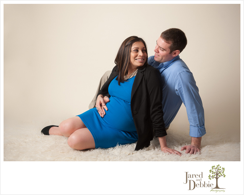 in studio maternity session with Jared and Debbie