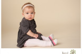 six month baby girl during session with Jared and Debbie