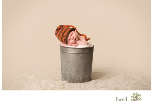 Newborn baby boy in bucket during Jared and Debbie Photography Session