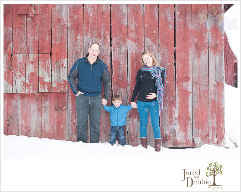 barn and snow family maternity session with Jared and Debbie
