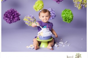 purple and green cake smash with jared and debbie photography