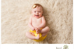 baby girl at six months old during session with Jared and Debbie