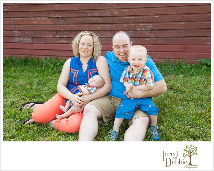 Family of four during session with Jared and Debbie Photography