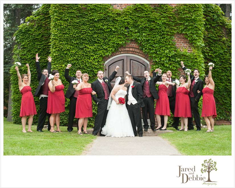 Bridal Party during wedding with Jared and Debbie