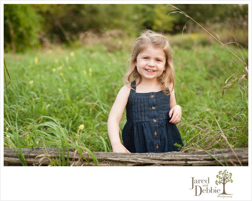 3 year old girl in nature during session with Jared and Debbie