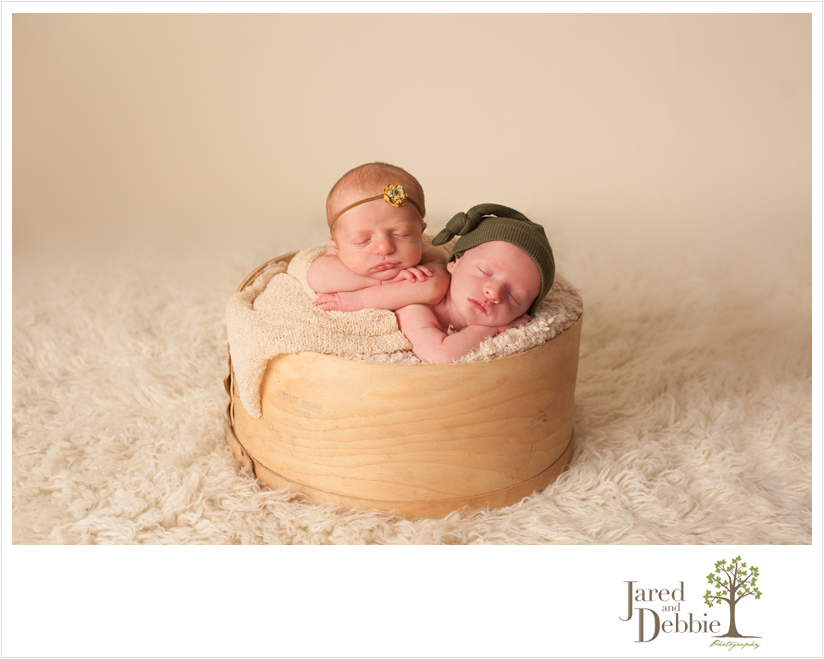 Boy girl twins during session with Jared and Debbie Photography