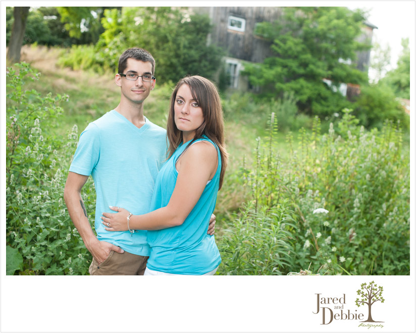 Engaged couple during session with Jared and Debbie