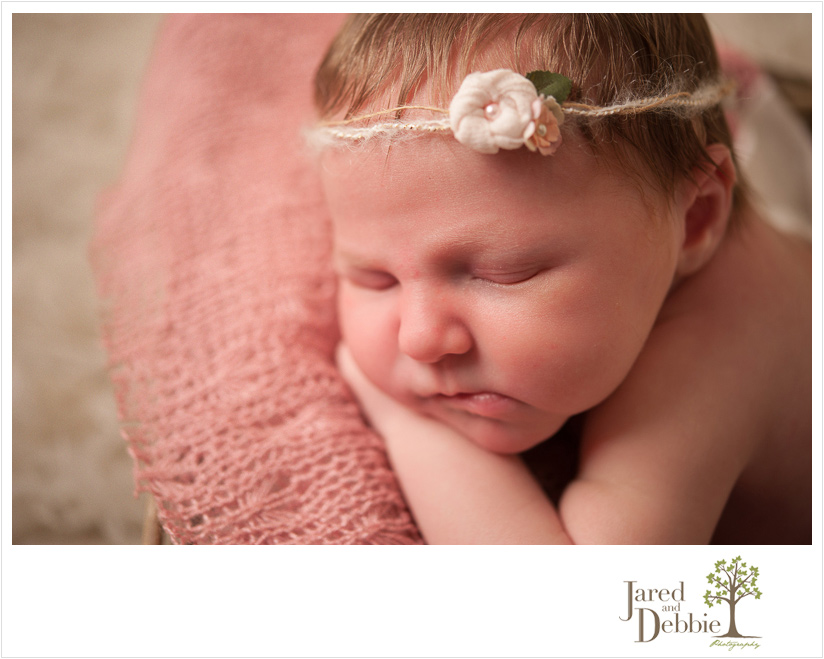 Baby girl during newborn session with Jared and Debbie